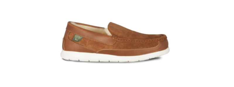 Men's Sheepskin Shipley Loafer Slipper -- size 7-8-9-10-11-12-13 -- Color Chestnut with White Sole